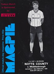 Notts County vs Middlesbrough - 1984 - Cover Page (The Sky Strikers) Tags: notts county middlesbrough fa cup road to wembley magpie official matchday magazine 40p meadow lane