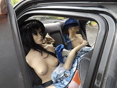 The girls getting frisky in the back seat (bradlanson) Tags: breasts mannequin naked blindfold car backseat boobs nipples