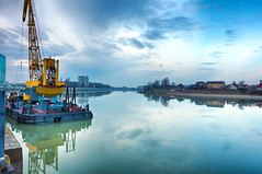 Morning views (Varvara_R) Tags: travel explore krasnodar russia morning sky clouds peaceful tranquil tranquility silence industrial river kuban water reflections