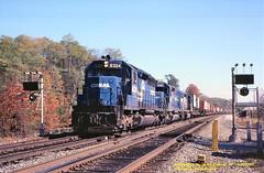 CR 6324-6346-6381 w, Greensburg, PA. 10-30-1983 (jackdk) Tags: train railroad railway locomotive detector defects defectsdetector cr conrail prr penncentral pennsy pittsburghmainline signal emd sd40 sd402 emdsd40 emdsd402 trailertrain intermodal greensburgpa pc standardcab