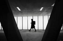 Lady in.... (René Mollet) Tags: woman oerlikon blackandwhite bw zürich street streetphotography shadow silhouette streetart streetphotographiebw station schwarzweiss urban urbanstreet underground renémollet