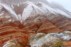 Zhangye Danxia Landform 丹霞地貌 (MelindaChan ^..^) Tags: 張掖 丹霞地貌 gansu china 甘肅 danxia landform danxialandform 丹霞 地貌 nature color colorful land chanmelmel mel melinda layers melindachan snow ice icy weather winter