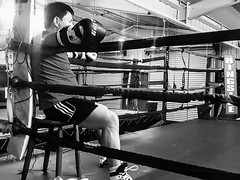 Ming 3 boxing (boxerrod) Tags: people black blackandwhite gray white boxing guy man gym houston steel beams mirror nighttime sparring samsung light reflections chair metalbeams photography portrait momochrome friends tough