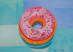 Donut Worry (Megan Coyle) Tags: donut doughnut dessert food yum sweets sprinkles pink frosting foodart donutworry donutart donutcollage blue paperart papercollage illustration art collage collageart magazinecollage cutandpaste paintingwithpaper megancoyle coylecollage