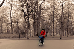 Cyclist in red (hboudeling) Tags: cyclist red