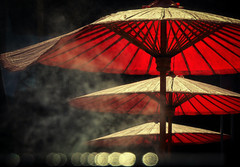 ☂☂☂ (Carl's Captures) Tags: umbrellas chinatown bangkokthailand lhong1919 backlight bokeh incense smoke haze mist chinsese chineseheritage chinesehistory red southeastasia asian thai siam urban minimalism abstract cityscape patterns repetition hazy smoky atmosphere moody mysterious nikond5100 tamron18270 photoshopbyfehlfarben thanksbinexo parasols