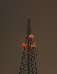 Cell Tower - Filmy Look (Alex Wilson Photography) Tags: tower towers architecture fog foggy photo canon canont3i canon600d 600d t3i 24mm 28 fstop cell architect light lights cool red white blue black sky fogged filmy look film looking photoadaychallenge photos night late illinois