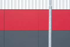 Lamp post and a grey and red wall (Jan van der Wolf) Tags: map176158v grey grijs red rood lines pole lantaarnpaal lamppost paal minimalism minimalistic minimal