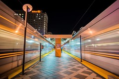Two trains (kyoiphoto) Tags: night railway downtown california wideangle station cityscape sony longexposure train