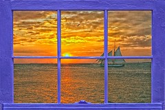 Window To Paradise (Jim DeFazio) Tags: sunset sundown dusk evening keywest fl florida sailboat boat ocean bay orange window seascape shore thekeys floridakeys twilight orangesky windowpane paradise scenic