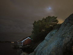 Seaside silence (rummelsen1) Tags: longexposure sea homborsund night em10mk2 olympus moon