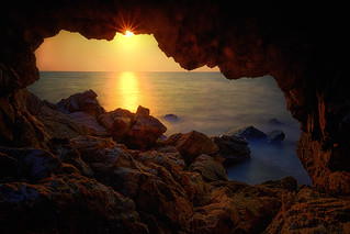 Sea cave sunset