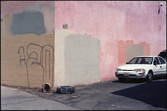 One white car (ADMurr) Tags: la adams boulevard alley pink grey brown paint 20 leica m6 kodak ektar daa881