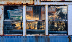Stay Clear Of Doors (jtr27) Tags: dscf7452xl jtr27 fuji fujifilm fujinon xt20 xtrans xf 35mm f2 f20 rwr wr train trolley subway abandoned car reflection sunset rust oxidation corrosion patina wabisabi