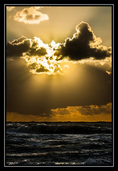Sea view. (mirosławkról) Tags: poland sea water clouds sun sunset orange 150600