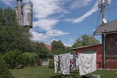 Laundry (Markus Lehr) Tags: laundry industrial garden antennas blueskies clouds humanartifacts manicuredlandscape mood atmosphere nopeople peoplelessness ostrava czechrepublic markuslehr