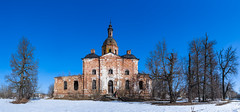Abandoned Church. (Oleg.A) Tags: ancient sunny saltykovo destroyed church nature frost midday orange snow forest orthodox architecture cross white ruined landscape winter old brick outdoor panorama materials villiage blue colorful abandoned building cathedral russia sky dome ryazanregion rural bell field