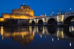 Castel Sant'Angelo (Paolo Cinque / www.paolocinque.it) Tags: nightlights reflection water ponte bridge incredibile stunning awesome longexposure masterpiece perfect terrific beautiful italiano italian fantastic canon picture pic image shot travelphotography sighseeing sight visiting visit traveling traveller traveler travelling travel photographer photography photo night bluehour tiber tevere river europe europa italien italie italia italy rome roma