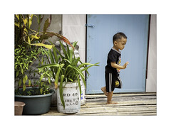 On the move (jen 3163 (away for a while)) Tags: child boy borneo longhouse candid children potplants sarawak
