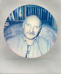 Father Christmas (Magnus Bergström) Tags: polaroid 680 slr polaroid680slr analog instant film 600 foldable impossible impossibleproject project round silver frame edition color christmas ekshärad wermland värmland sweden family father dad portrait people moustache mustache bald smile old shirt janber00