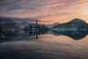 LAKE FAIRYTALE (Stephen Hunt61) Tags: church island isola isolated reflections reflectivesurface landscape landscapes lake landmark lago clouds sunrise dawn water quiet silence outdoor peace slovenja alpine snow winter stefanocaccia