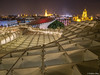 On top of the Metropol Parasol (✦ Erdinc Ulas Photography ✦) Tags: metropol parasol sevilla city night view landscape design building modern wood sky stairs stair spain españa walkway landmark travel seville steps panasonic white structure setas mushroom church light square roof