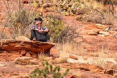 Likes danger, but a little at a time (Tex Texin) Tags: arizona sedona boynton canyon trail vortex people danger thrillseeker man hiker cliffdweller