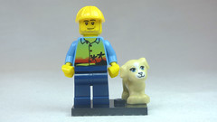 Brick Yourself Custom Lego Figure Holidaying Construction Worker with Puppy