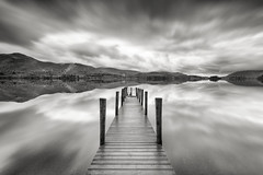 Caught Between Two Worlds (davepsemmens) Tags: derwentwater lakes jetty lakedistrict bw longexposure