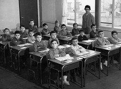 Class Photo (theirhistory) Tags: boys children kids school france desks class jacket shirt shoes wellies teacher boots form pupils students education
