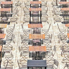 Empty Seats (1bluecanoe) Tags: gettyinspired 1bluecanoe iphoneography abstract museum losangeles cafe gettymuseum