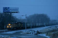 Tier 4 in the Snow (Jeff Carlson_82) Tags: up uprr emd sd70acet4 tier4 tieriv grain adm unittrain billboard renewableenergy unionpacific topeka topekasub ks kansas snow winter macvicar 3049 train ra railroad railfan