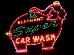 Elephant Super Car Wash 1 (FFWoodycooks) Tags: neon sign seattle pink green denny way