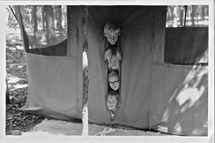 Camping Kids (ricko) Tags: kids siblings me laura david ann tent camping film scan old early60s bw fromfamilyarchives