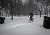 The Winter Warrior (Yewbert The Omnipotent) Tags: toronto canada cycling bikes biking winter warrior storm snow ice bw blackwhite night cold nikon d750 tamron 35mm