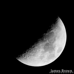Waxing Crescent Moon with Lunar X & V visible (44.4% Illuminated) (J. Brown Photography) Tags: james brown photography sony alpha sigma 150500mm star adventurer moon lunar x v optical illusion black white
