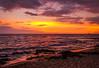 """Fiery Hawaiian Sunset""  Kona, Hawaii (Cathy Lorraine) Tags: sunset sea seascape ocean sky fiery water beach reflections colorful kona hawaii sand"