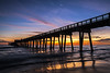 A Sliver of Moon (lightonthewater) Tags: sunset sand panamacitybeach pier ocean gulfofmexico florida reflection lightonthewater clouds bluesky moon