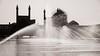 Water Games (Tom Levold (www.levold.de/photosphere)) Tags: fuji fujixpro2 isfahan sw xf18135mm bw esfahan wasser maidānenaqshejahān abstrakt abstract backlight fontänen schahmoschee gegenlicht water shahmosque brunnen fountain