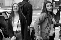 3-3 Candids 90 (TheseusPhoto) Tags: people streetphotography streetportrait street blancoynegro blackandwhite monochrome bnw portrait city citylife sanfrancisco sanfran california girls pose smile silly