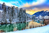 Tra oggi e domani (Gio_ guarda_le_stelle) Tags: dolomiti dolomites dolomiten river sunset snow ice sky clouds trees mezzanotte midnight between today tomorrow landscape snowscape mountainscape fiume quiete neve tramonto luce light cool winter mountain italy atmosphere
