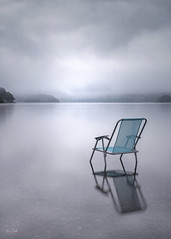 """""""Blue Monday"""" (Fiona Smith (Prev. Fiona McAllister Photography)) Tags: emptychair firstlight mood atmosphere moody alone abandoned lost loss sadness sad depression suicide drowning lake lakedistrict ullswater ullswaterlake blue blues grey mentalhealth wellbeing health"""