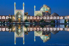 Shah Mosque, Isfahan, Iran (Feng Wei Photography) Tags: islamicculture persianculture traveldestinations isfahan art persian landmark colorimage unescoworldheritagesite iranianculture builtstructure islamic islam unesco famousplace tranquilscene iran shahmosque travel tourism minaret reflection outdoors architecture mosque horizontal night middleeast irn
