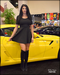 Ferrari 599 GTB Fiorano - 2017 San Francisco Auto Show (billypoonphotos) Tags: manwella ferrari 599 gtb fiorano female woman model 2010 san francisco auto show black dress billypoon billypoonphotos nikon moscone center photo picture yellow car photographer photography bay area lady pretty sports italian pininfarina race vehicle tire rim 2017 d5500 18140mm 18140 mm