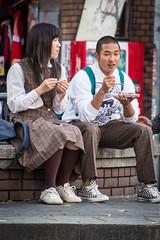 Amerikamura, Osaka - Japan (Marconerix) Tags: osaka japan giappone urban street people persone studenti students amerikamura eating mangiando boy girl ragazza ragazzo student speaking friends couple japanesegirl