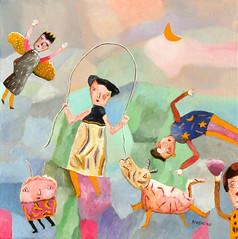 """CORDE À SAUTER AVEC ANGE"" (Boccacino) Tags: angel art jeanboccacino painting artbrut artsingulier skippingrope moon"