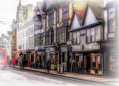 Oxford shops misty (Bobinstow2010) Tags: oxford street shops arty bus pavement topaz photoshop misty