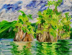 Islands in the Sea (BKHagar *Kim*) Tags: bkhagar art artwork paint painting canvas acrylic island islands water reflection sea ocean