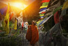 Monk hike in Bhutan1 (santifoto9) Tags: tibet buddhist travel china flags tourism culture ancient asia mountain religion religious temple hiking buddhism pray prayer buddha tibetan bhutan colorful india history road chinese oriental silk hope worship attitude dead symbols sacred value orient belief wish highland beauty person statue portrait art young asian old traditional people nature beautiful