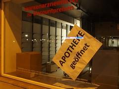 dramatic window dressing (mkorsakov) Tags: dortmund city innenstadt baustelle constructionsite schaufenster shopwindow flyer poster hinweis info drama leer empty